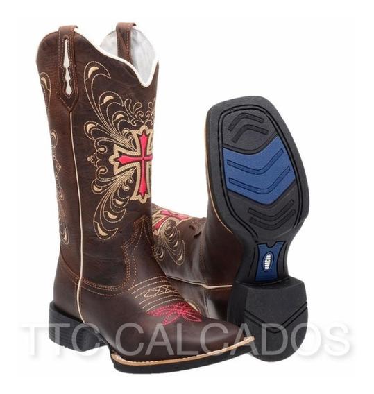 Bota Texana Feminina Cano Medio Couro Legitimo M1143 Nova