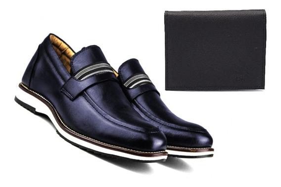Sapato Social Masculino Linha Premium Couro Brinde Carteira