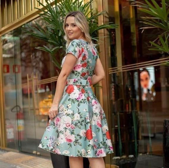 Vestido Midi Godê Estampado Floral Com Cinto Moda Evangélica