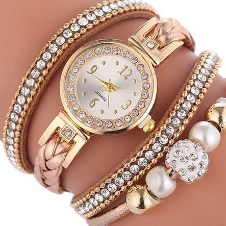Relógio Feminino Bracelete Strass Pulseira Couro Marrom