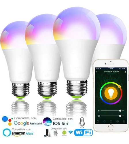 Imagen 1 de 8 de Foco Led Rgb Wifi Bombilla Inteligente Multicolor Set De 4