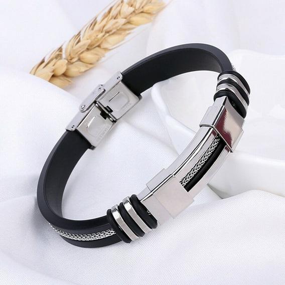 Pulseira Bracelete Masculino Com Detalhes Pratas Em Aço Inox