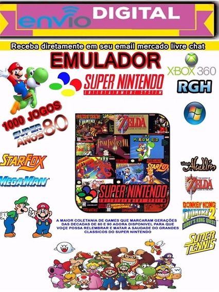 Rode Super Nintendo No Seu Pc Ou No Xbox-360 Rgh 1000 Games