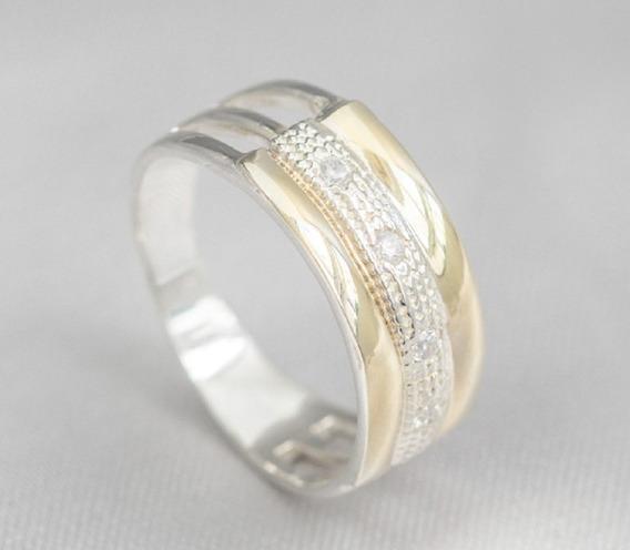 Anel Modelo 3 Elos Em Prata 950 Filetes Ouro Maciço Pedras