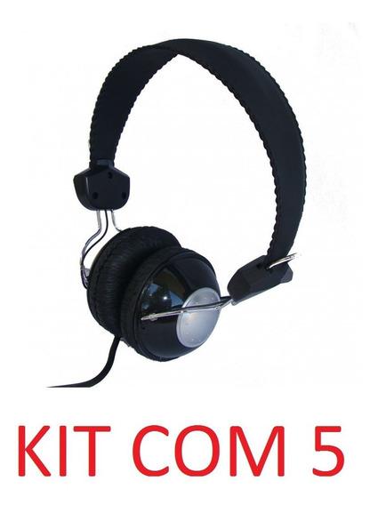 Kit 5 Headfone Com Microfone Lapela-bom Por Não Quebrar