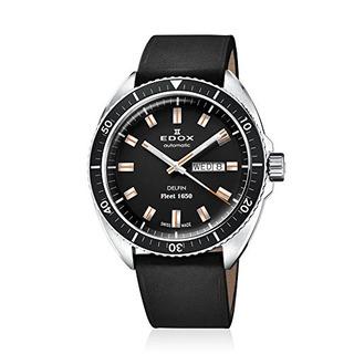 Reloj Automatico De Acero Inoxidable Y Piel Para Hombre Edox