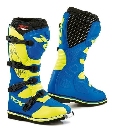 Bota Tcx X-blast Azul/fluor Trilha Motocross Enduro