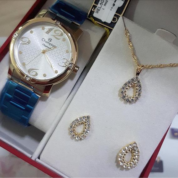 Relógio Champion Analógico Cn27634w Feminino + Semijóia