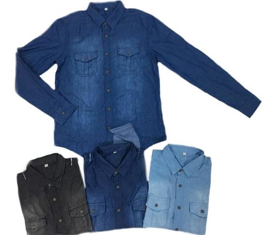 Blusa Camisa Social Jeans Feminina Slim Estilosa Linda