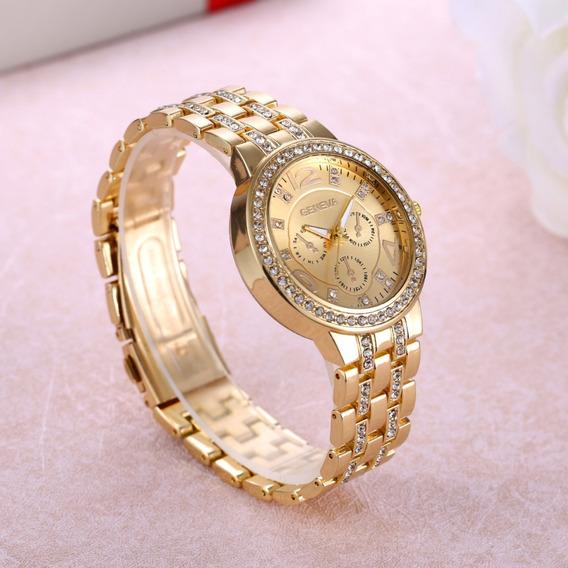 Relógio Feminino Dourado Com Strass Geneva Lindo Promoção
