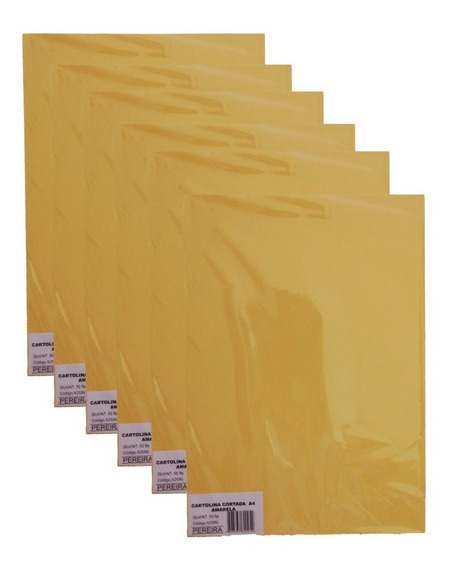 Kit 10 Pcts Cartolina Cortada A4 Amarelo 500 Folhas -pereira