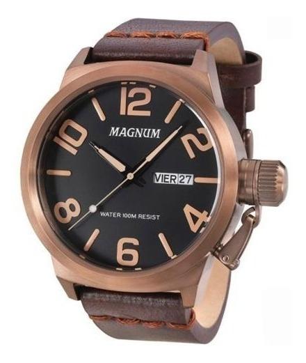 Relógio Magnum Masculino Ma33399m Marrom Couro Grande