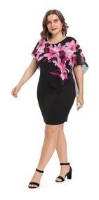 Vestido Fiesta Vuelos Hombros Flores Rosas + Envio Gratis