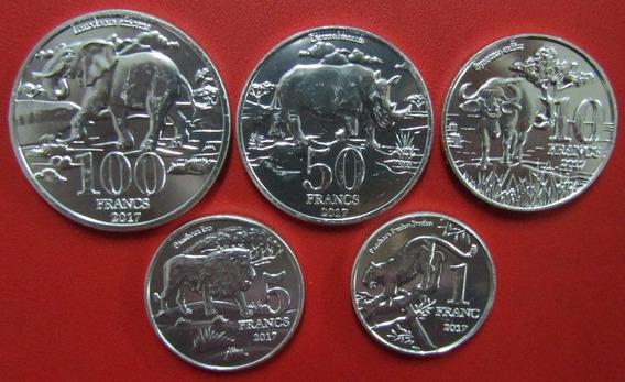Katanga Set De 5 Monedas Año 2017 Animales Unc Sin Circular