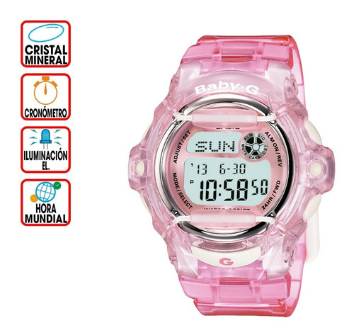 Imagen 1 de 4 de Reloj Casio Baby-g Bg-169r-4cr Splash Rosa Transparente