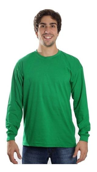 Kit Com 5 Camisetas Manga Comprida Básica Lisa Camisa Blusa