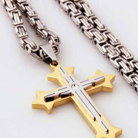 657f958e1f6f Collar Cruz Iglesia Ortodoxo Joyas Cristiano Hombres Acero I