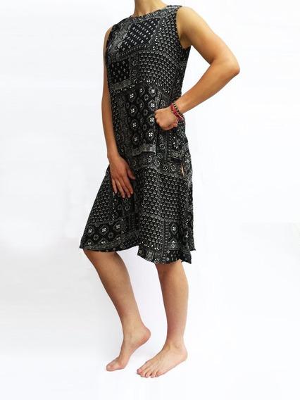 Vestido Negro A La Rodilla,sin Mangas,elegante,cómodo,casual