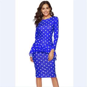 e361aa16b Vestido Azul Corto Elegante Oficina - Vestidos de Mujer en Mercado ...