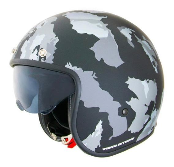 Casco Moto Abierto Con Visor Camuflado Militar Negro X581 Punto Extremo