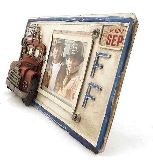Porta-retrato Placa Caminhão De Bombeiros Oldway Em Metal