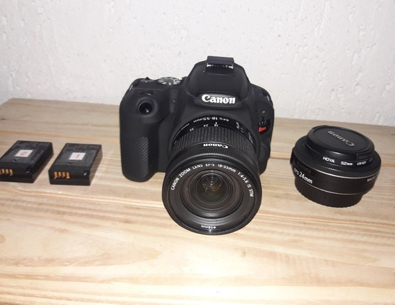 Canon Sl2 + Lentes 18-55 + 24mm F2.8 + 2 Baterias + Bolsa