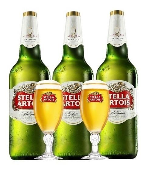 Cerveza Stella Artois Litro Pack X3 + 2 Chalice 250 Ml
