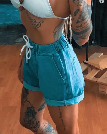 Short De Jeans Tiro Alto Excelente Calce Dama Mujer Art 7017