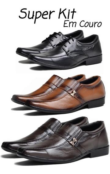 Sapato Social Couro Legitimo Combo 3 Par Masculino