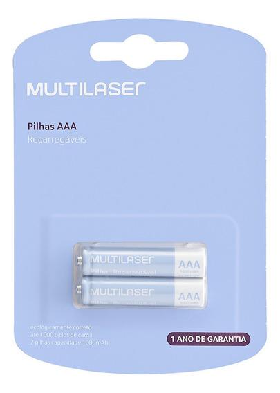 Pilha Recarregável 1000 Mah C/2 Pilhas Aaa Cb051 Multilaser