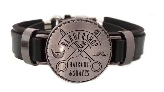 Pulseira Masculina Couro Preto Medalha Barbeiro Barbearia