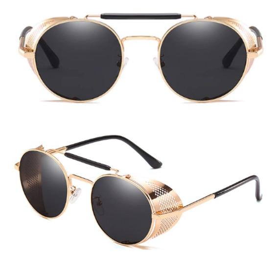 Óculos De Sol Proteção Lateral Steampunk Vintage Mascara