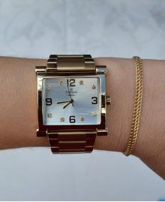 Relógio Champion Feminino Dourado Quadrado Cn26939h Original