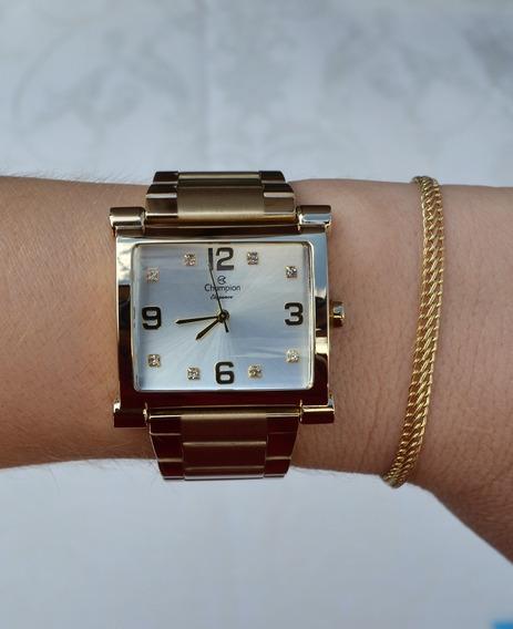 Relógio Champion Feminino Dourado Quadrado Original