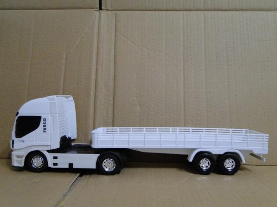Caminhão Brinquedo Carga Seca Bitrem Iveco 45cm Escala 1/32