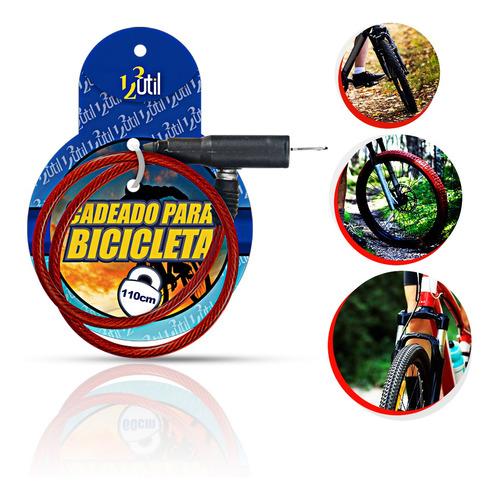 Cadeado Para Bicicleta Com Chave 110cm*08mm Cor:vermelho