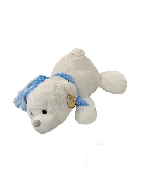 Urso Pelúcia Deitado Azul Com Touca E Cachecol 62cm