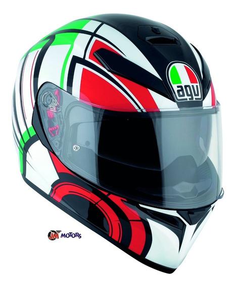 Jm Casco Integral Agv K3 Sv Avior Italiano Blanco Rojo Verde