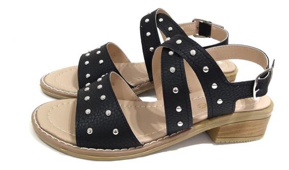 Zapatos Sandalias De Mujer Dama Taco Bajo Chatitas De Tiras Tachas Moda Primavera Verano Simil Cuero