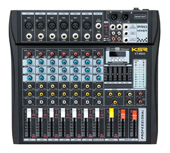Mesa De Som 8 Canal Ksr Pro Bluetooth Usb Gravador - Loja