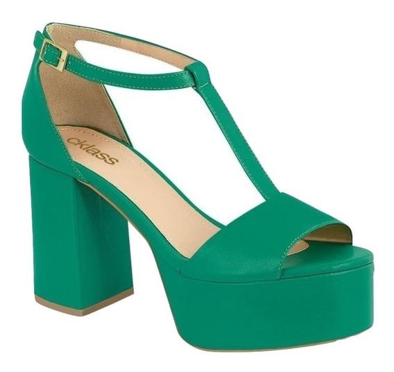 Cklass Huarache Mujer Verde Sint Plataforma Tacon Dtt40526