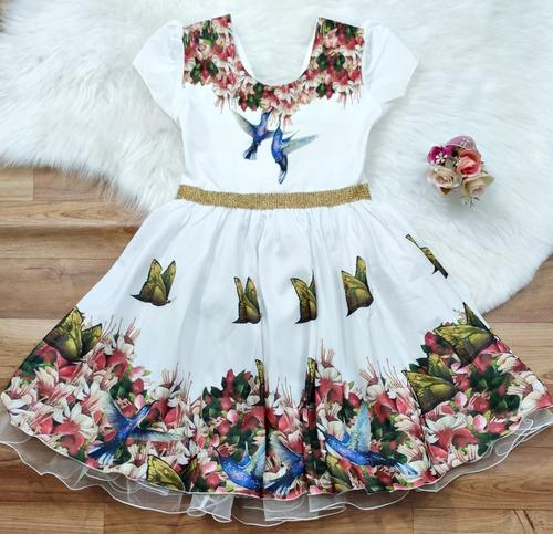 Imagem 1 de 4 de Vestido Festa Infantil Off Jardim Beija-flor