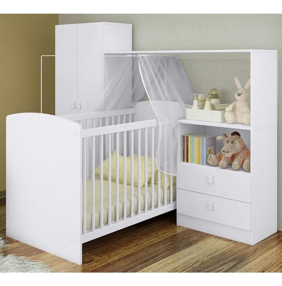Quarto Infantil Berço Guarda Roupa Escrivaninha 2p 2g Branco