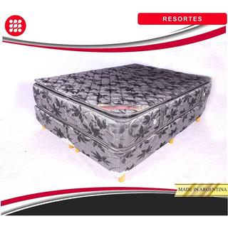 Conjunto Sommier Resortes Con Pillow. 160x190x27