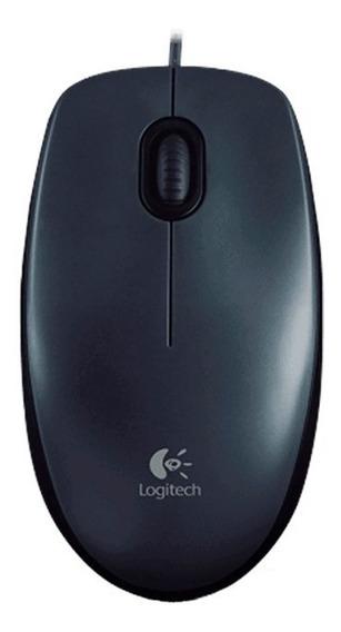 Mouse Óptico Usb Logitech M100 Preto Com Fio
