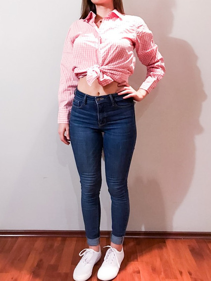 Camisa Larga Cuadros Rosa Con Cinturón