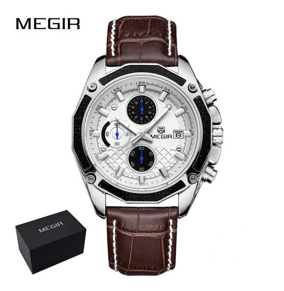 Relógio Branco Esportivo Masculino Cronógrafo Megir Promoção