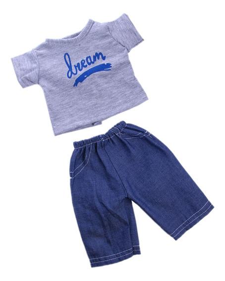 T-shirt Cinza E Calças De Ganga Para 18 -inchamerican Loga