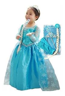 Disfraz Princesa Elsa Frozen Corona, Trenza Y Varita Mágica