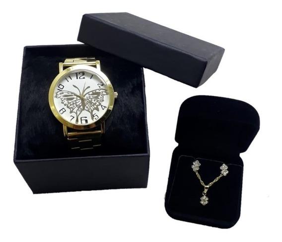 Relógio Luxo Feminino + Brincos E Colar Com Caixa Borboleta